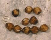 SALE 6 Vintage Beads West German Caramel Swirl Sliced Teardrop Window Glass