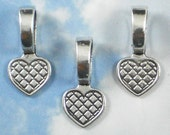 Bulk 50 Large Heart Glue On Bails Silver Necklace Pendant Bails Flat Pad - use on Fused Glass, Stones & Tiles (P106 -50)
