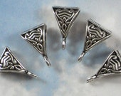 BuLK 50 Celtic Pendant Bails with Loop Antique Silver 2 Sided Triangle Shape (P105)
