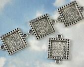 Sweet... 6 Square Antique Silver 2 Loop Bezel Tray Blanks Connector Link Settings (P637)