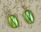Glass Scarab Earrings Fused Dichroic Peridot Green & Gold Oval with Sterling Silver  (3526)