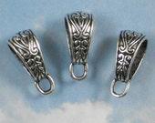 10 Celtic Slider Bails Heart & Leaf Pendant Enhancer Antiqued Silver Tone (P732)