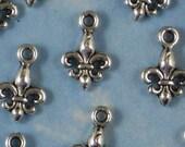 BuLK 50 Tiny Silver Fleur de Lis Charms Antiqued Reversible WHoLESaLE - Perfect Earring Size (P021 -50)