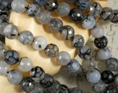 38 Faceted Fire Agate Beads 10mm Black, Cloud & Gray Crackle Disco Ball Rounds (5165)