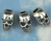 5 Large Hole Skull 12mm Beads 3D Tibetan Silver Tone - 4mm Top to Bottom Hole fits large Chain or Cord (P634)