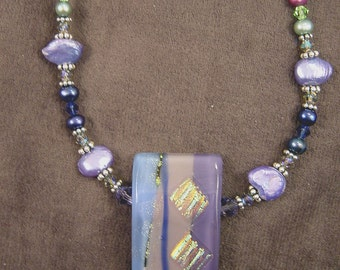 Pretty in Lavender Dichroic Glass, Freshwater Pearl, Swarovski Crystal & Sterling Necklace (3020)