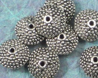12 Saucer Beads Rondelle Spacers Silver Tone Bali Granulated Style 12mm X 6mm (P151)