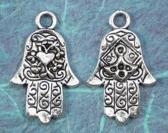 2 x Reversible Large HEART Hamsas Evil Eye Protection - Hand of Fatima 41mm Tibetan Silver Pendants (P319-2)
