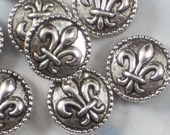 8 Fleur de Lis Coin 16mm Beads Antiqued Silver SiDE to SiDE Hole Beaded Edge NOLA (P393)