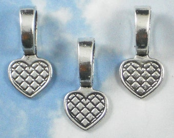 10 Large Heart Glue On Antiqued Silver Bails - Great for Dominos, Glass Cabochons, Bottle Caps (P106 -10)