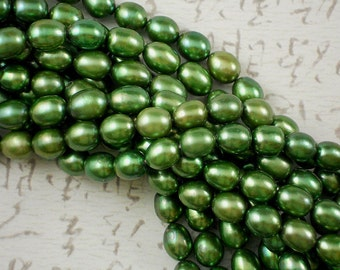 Spring Green Pearls 10mm x 8mm Plump Oval Freshwater - Full Strand (4120F)