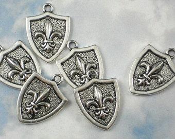 Save 30% on BuLK 30 Fleur de Lis Shield Charms Silver Tone Pendants NOLA (P587 -30)