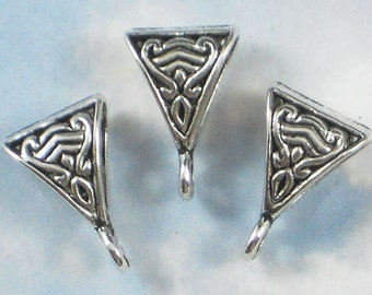 10 Celtic Pendant Bails with Loop Antique Silver Triangle Shape (P105)