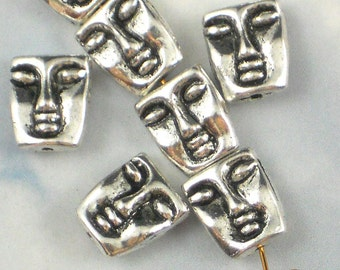 10 Face Beads Antiqued Silver Double Sided - use for doll heads - (P503)