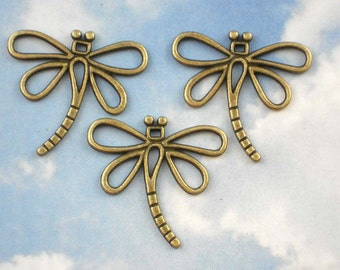 6 Dragonfly Link Charm  Antiqued Bronze Wire Dangles (P455)