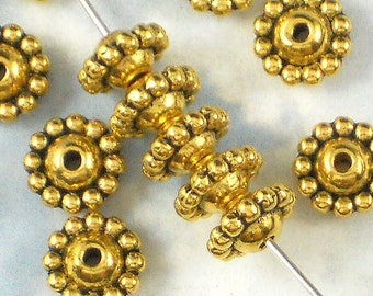 24 Flying Saucer Gold Beads Bali Style Beaded Center (P304)