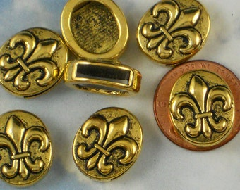 BuLK 100 Ribbon Slide Beads Fleur de Lis Sliders Slotted Oval Coin Gold Tone (P692 -100)