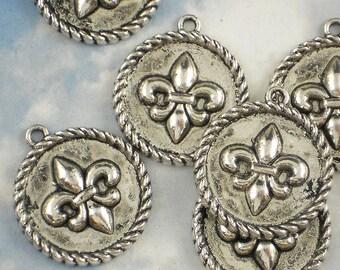 3 Fleur de Lis Rope Edge Charms Medallions Antiqued Silver Tone 24mm Round Pendants (P596)