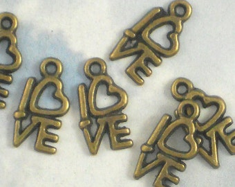 30 Love with Heart Charms Patina Bronze - Great for Place Cards, Invitations & Paper Arts (P713)