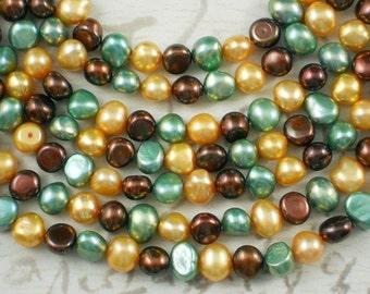 Asst Pearls Chocolate Gold & Mint Green Button Freshwater (4099)