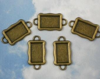 5 Rectangle Connector Link Trays Bronze 2 Loop Raised Bezel Blanks Link Settings (P868)