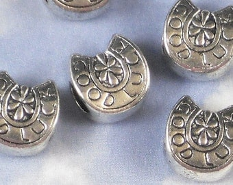 12 GOOD LUCK Horseshoe Beads Large Hole Lucky Charm Antiqued Silver (P746)