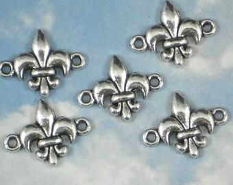 8 Fleur de Lis Connector Bracelet Links Antiqued Silver NOLA Ragin Cajuns (P962)