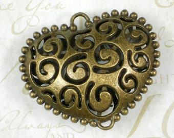 "2"" Bronze Large Puffed Heart Pendant Spiral Design Hollow 2 Loop Antiqued (P938)"