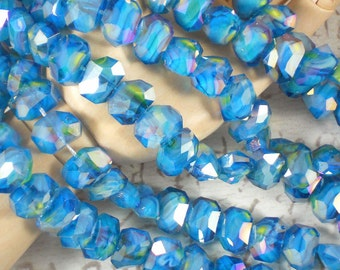 8 Polygon Crystal AB Beads Aquamarine, Yellow & White Swirled Faceted 13 x10 mm Beads (C227 -8)