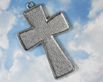 "4"" Flared Cross Setting Bezel Blank Pendant Frame Mounting Silver Tone - Bead Mosaics, Rosary (P054)"