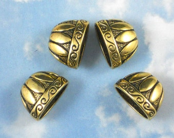 BuLK 30 Petal Flattened Necklace Cones Gold Tone End Caps Beads (P033 -30)