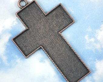 "4"" Giant Copper Cross Bezel Setting Pendant Frame Mounting Tray - 3mm Deep Bead Mosaics, Resin (P009)"