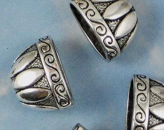 6 Large Petal Necklace Cones Antique Tibetan Silver Tone Beads End Caps (P034)