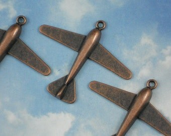 3 Airplane Charms Copper Tone 42mm Vintage Style Plane Antiqued Pendants (P871)