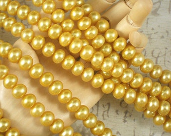 Golden Corn Pearls Side Drilled 7mm x 9mm Potato Freshwater - 16 inch Strand (4159)