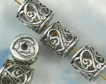 4 Scroll Heart Tube Beads 15mm Hollow Fancy Silver Tone Large Hole for Leather or Ribbon (P703)