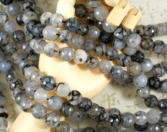 20 Faceted Fire Agate Beads 8mm Black, Cloud & Gray Crackle Disco Ball Rounds (5195)