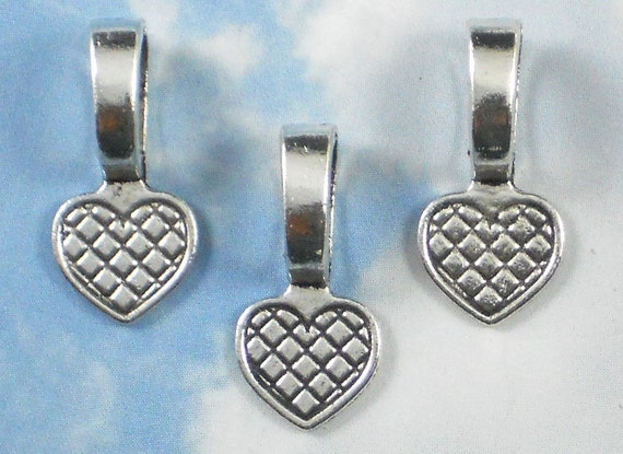 100 Bails Large Heart Flat Pad Glue On Silver 21mm long - Great for Cabochons Bottle Caps Stones (P106 x2)