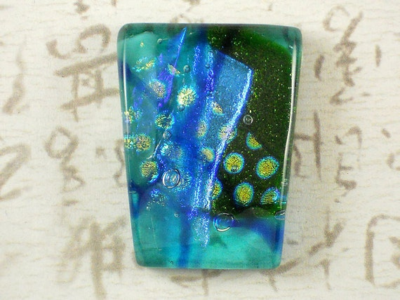 OOAK Fused Dichroic Glass Aqua & Aventurine Green Focal Large Cabochon - Wirewrap or Mount for Pendant - (3808)