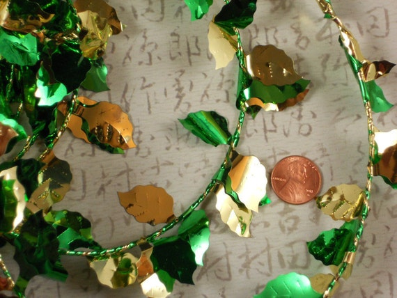 LEAF GaRLAND Premium Gold & Green Ivy Leaves LuSH Wired - 25 Feet