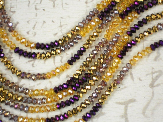 RESERVE For angelhugs - 4 Strands 100 Small 3x4mm Crystal Rondelles Purple Iris, Gold, Topaz & Amethyst AB Faceted Beads (C997 x4)