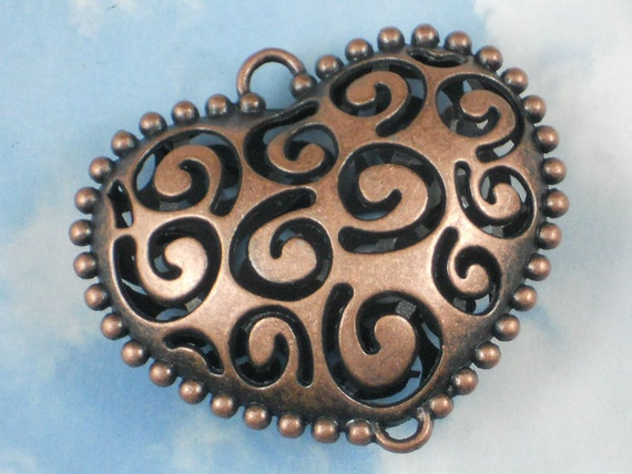 """2"""" Copper Large Puffed Heart Pendant Spiral Design Hollow 2 Loop Antiqued (P940)"""