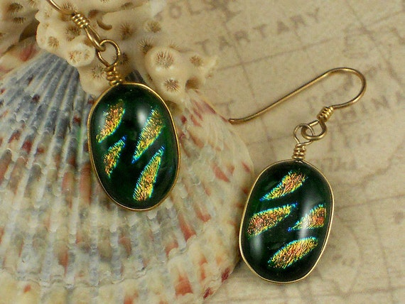 Fused Glass Earrings Emerald Green Gold & Copper Tiger Stripe Dichroic Oval Dangles (3531)