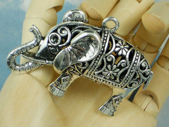 """LAST Large Good Luck Elephant Charm 2"""" Pendant Raised Trunk Up Silver Lucky Mojo (P072A)"""
