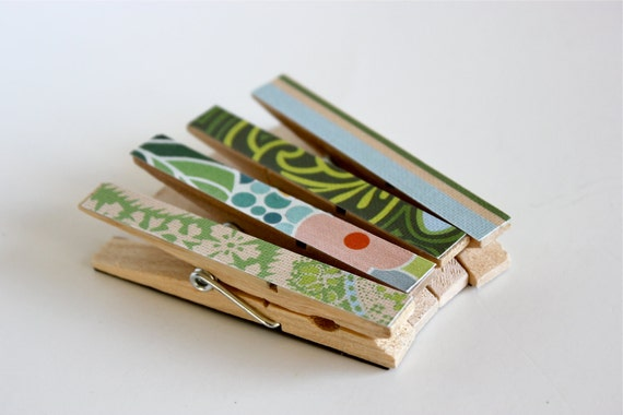 4 Amy Butler Magnetic Clothespin Clips