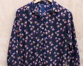 Floral Blouse Button Down with Collar