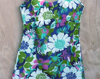 Swinger Shift Dress Floral Sleeveless Cotton Mini Dress 60s 70s Resort BBQ