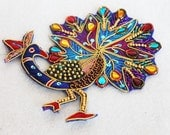 Exotic Beaded Peacock Applique