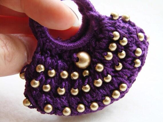 Exotic Miniature Crochet Bag - PURPLE