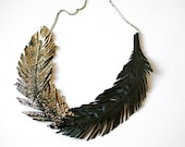 "Feather Necklace, Black Leather Feather Jewelry, Gold tipped Leather, Black Swan, ""Gilded Plumes"" Statement Necklace"